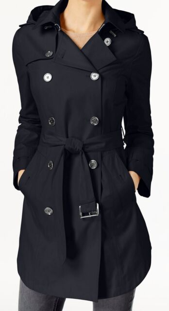 Michael Kors Double Breasted Hooded Trench Coat Navy Blue Size Petite Large NWT