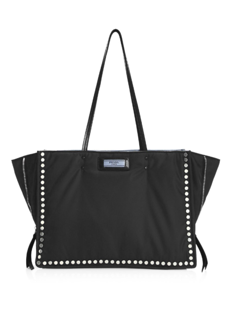 c212181f7 100% AUTH NEW PRADA BLACK STUDDED TESSUTO ETIQUETTE SHOPPER HANDBAG TOTE BAG