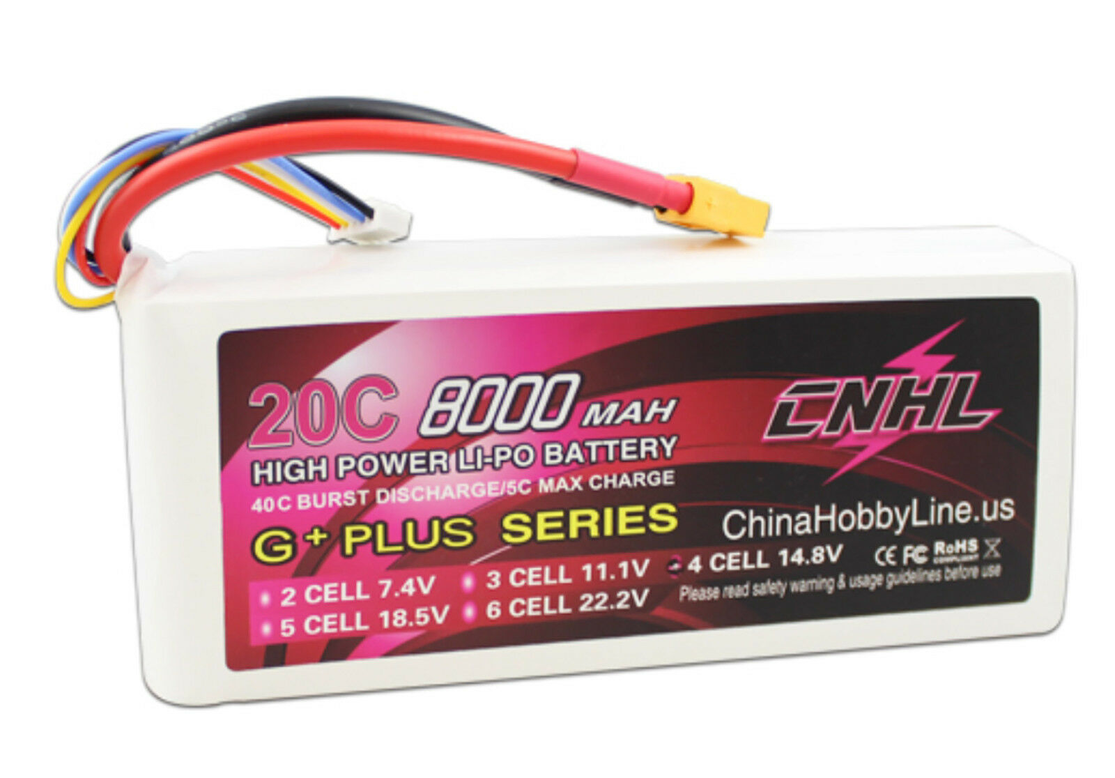 G+PLUS 8000mAh 14.8V 20C 4S XT60 plug Lipo Battery Multi-redor Helicopter ship