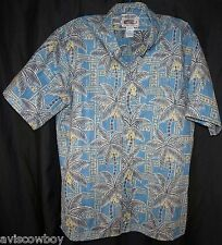 Reyn Spooner Art of Eddy Palm Trees Reverse Print Aloha Hawaiian Shirt Men's L