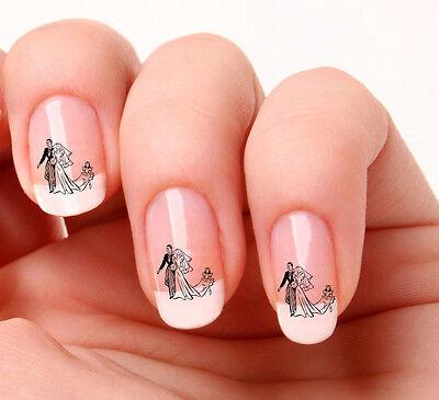 20 Nail Art Decals Transfers Stickers #353 - Wedding Bride & Groom