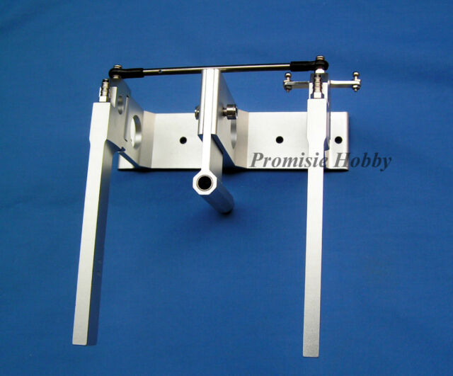 """Aluminum dual rudder with strut for 1/4"""" flex cable shaft gas nitro ele rc boat"""
