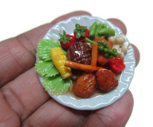 1:6 Dollhouse Miniatures Lamb Steak Mushroom Tomato Corn Food on Plate Deco 2