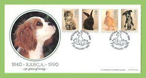 Conjunto-de-Graham-Brown-1990-RSPCA-animales-en-primer-dia-cubierta-oficial-Bradbury-Battersea