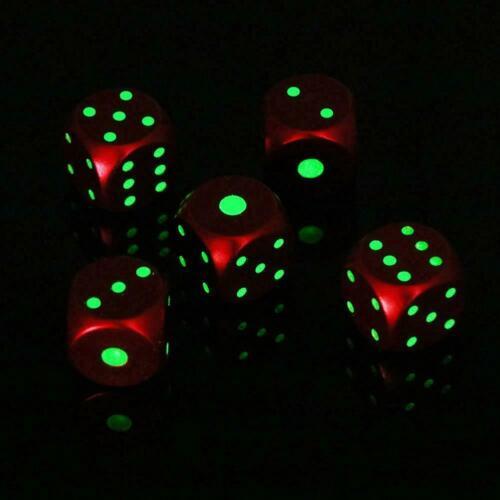 Sechs Seitige D6 0,63 zoll Würfel Metall Leuchtend Spaß Pips Dunkeln im leu G4H9
