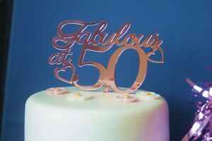 Image Is Loading PERSONALISED MIRROR FABULOUS At 50 Birthday Cake Topper