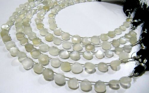 Natural White moonstone Heart shape Briolette 8mm beads strand 8 inches Long