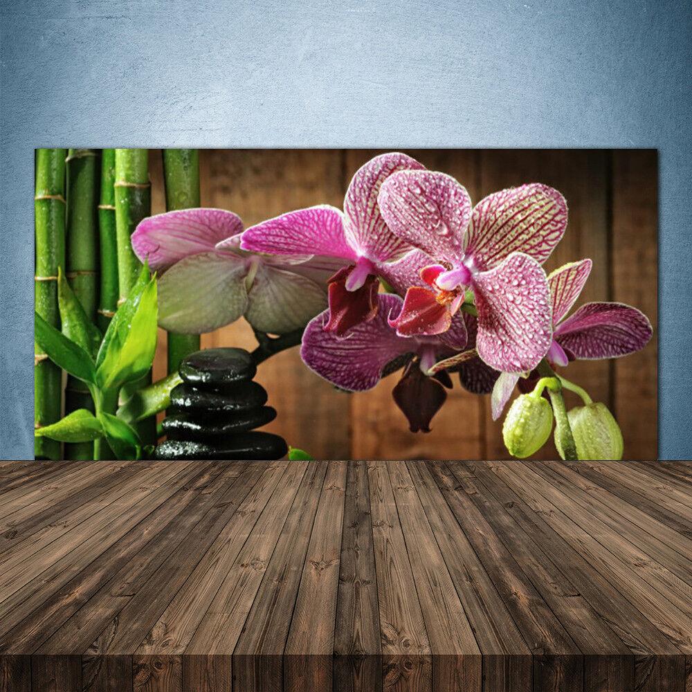 Cocina plano de posterior de plano vidrio ESG protección contra salpicaduras 140x70cm flores de bambú piedras plantas 6ad06a
