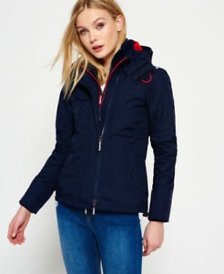 Details about New Womens Superdry Pop Zip Hooded Arctic SD-Windcheater  Jacket Nautical Navy b4e03290c