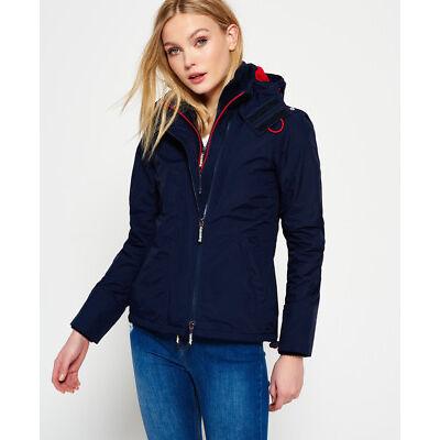 New Womens Superdry Pop Zip Hooded Arctic Windcheater Jacket Nautical Navy/Rebel