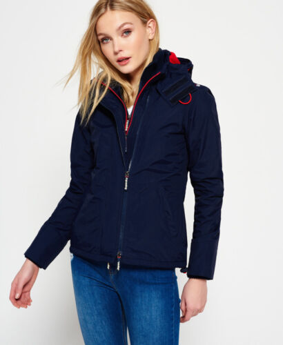 Neue Damen Superdry Pop Zip Arctic SD-Windcheater Kapuzenjacke Nautical Navy
