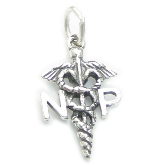 Sterling Silver Small 10x13mm says NP for Nurse Practitioner Caduceus Charm