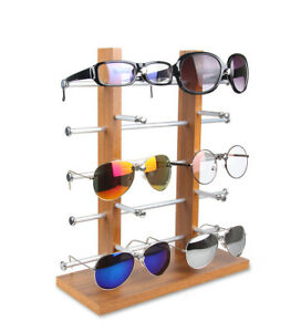 Includes Wood Base and Top Metal Frame and Mirror SU-36KD-WD 4-Sided Spinning Counter Sunglass Display Holds 36 Sunglasses