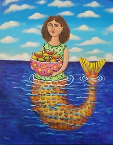 Beautiful-mermaid-with-fruits-painting-by-mexican-artist-Esau-Andrade-20-x-24