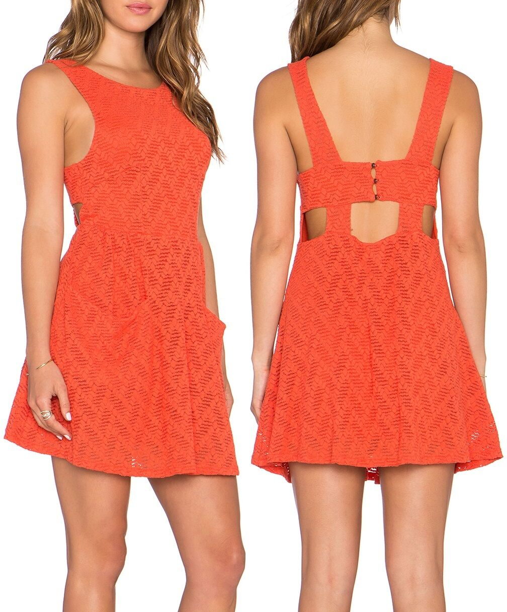 Free People Persimmon Orange Poppy Stretch Lace Mini Dress w Pockets - MSRP