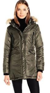 NEW Steve Madden Women's Outerwear Coat OPA643H 1X Olive w  Faux Fur Hood