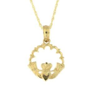 5e3d1e10dc7c43 Beauniq 14k Yellow Gold Tiny Lacy Open Claddagh Circle Pendant ...