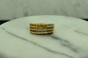 14K-YELLOW-GOLD-YELLOW-amp-BLUE-SAPPHIRES-AND-DIAMONDS-FOUR-ROW-RING-BAND-SIZE-9