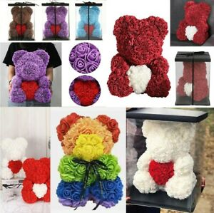25cm 10inch Flower Rose Bear Gift Box option Mother's Day Valentine Anniversary