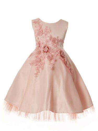 Rain Kids Big Girls Blush 3D Flower Applique Junior Bridesmaid Dress 8-10