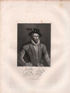 1890 Victoriano Estampado ~ Retrato Sir Walter Raleigh Con Facsímil Autógrafo