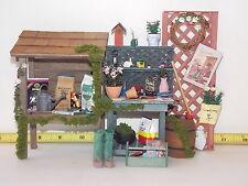 Artist Potting Table Set Garden Table Bench  Dollhouse Miniatures Handmade 1;12