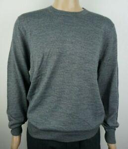 Men-039-s-Christian-Berg-Jersey-de-cuello-redondo-lana-mezcla-Pullover-Sueter-Gris-Talla-L
