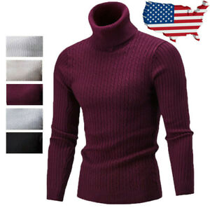 Men-Winter-Warm-Sweater-Slim-Fit-Knitted-High-Neck-Pullover-Jumper-Turtleneck-US