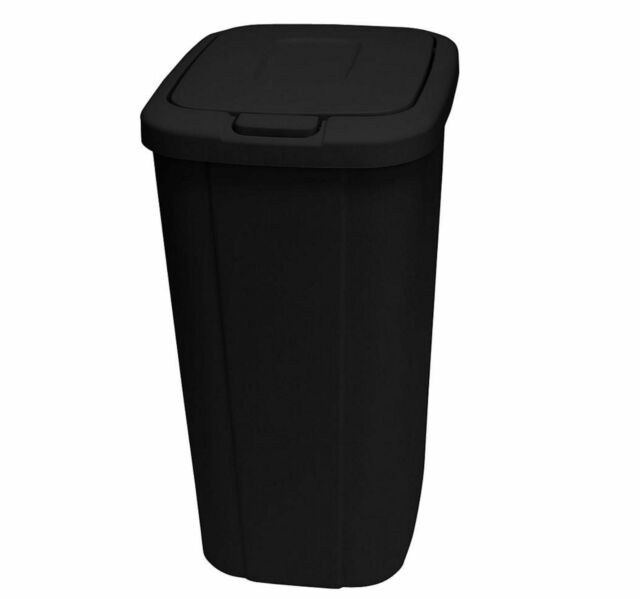 Hefty Touch-Lid 13.3 Gallon Plastic Kitchen Trash Can Garbage Recycle Bin,  Black