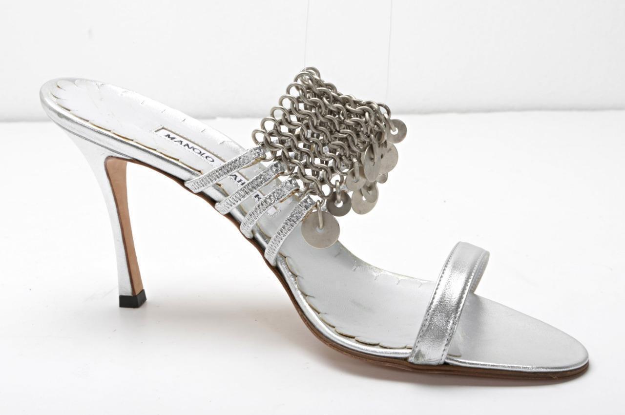 MANOLO BLAHNIK Silber Leather & Chain High Heel Charm Sandal Pump schuhe 10-40