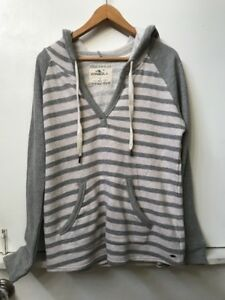0064def4b5f O NEILL Women s Terry Pullover Hoodie Sweatshirt Gray Striped Size S ...