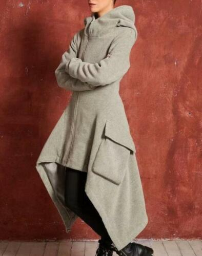 Women Long Irregular Gothic Steampunk Parka Coat Hooded Cotton Slim Jacket