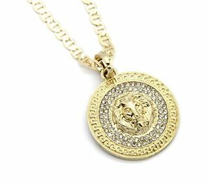 Mens medallion pattern lion gold plated 24 gucci chain pendant image is loading mens medallion pattern lion gold plated 24 034 mozeypictures Images