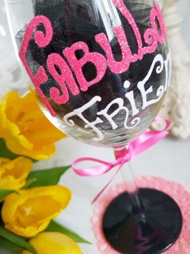 HAND PAINTED PERSONALISED CHAMPAGNE WINE GLASS BIRTHDAY friend best glitter 30th