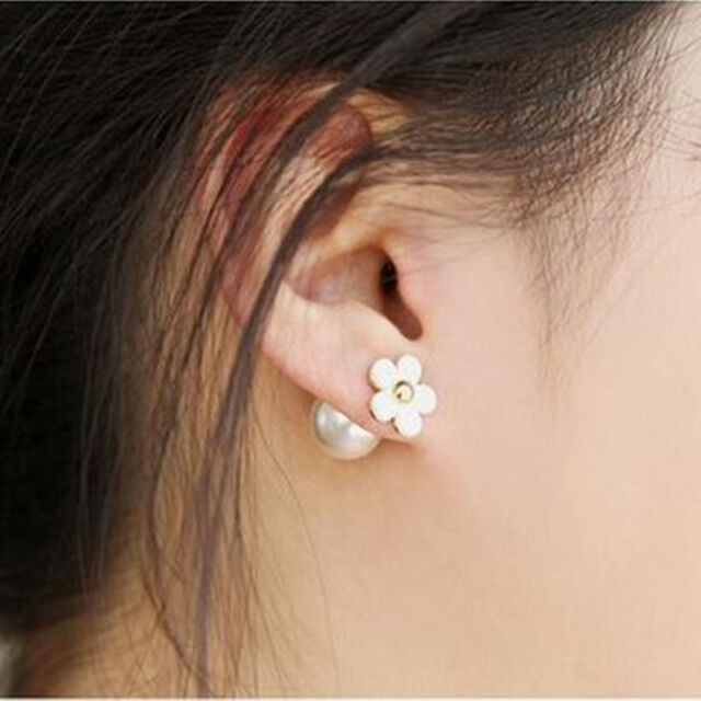 Hot Selling Double Pearl Cute Earring Ear Stud Fashion Trendy Women Girl Jewelry