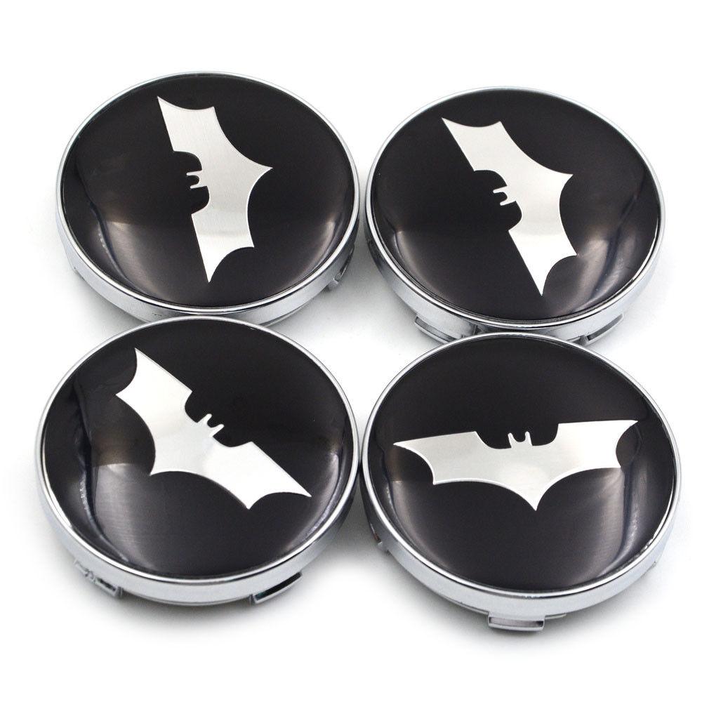 Biomar Labs/® 4 x 60mm Universal Gray Plastic Wheel Hub Centre Rims Center Caps 3D Batman Logo Gloss Silver Car Tuning CS 4