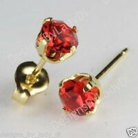Studex Sensitive Gold 5mm Simulated Red Ruby July Birthstone Stud Earrings
