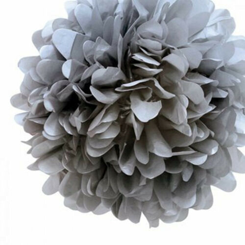 "8/"" 7 PCs White Grey Pink Tissue Paper Pom Poms Pompom Decorations Wedding"