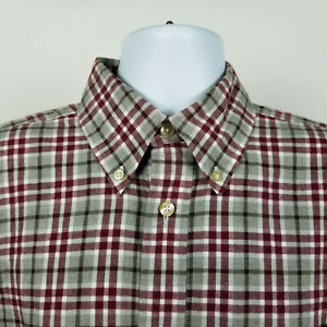 Orvis-Mens-Red-Gray-Flannel-Plaid-Check-Dress-Button-Shirt-Size-Large-L