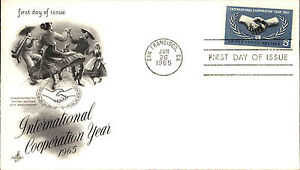 1965-USA-Cover-Stamp-Issue-Cooperation-Year-Cancel-Stempel-San-Francisco-CA-FDC