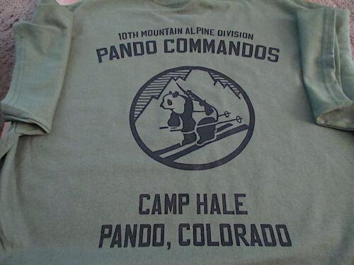 10TH MOUNTAIN Alpine PANDA COMMANDOS Camp Hale T-Shirt LARGE Army USA Printed