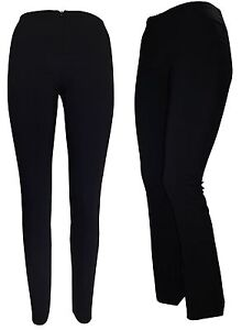 GIRLS WOMEN NAVY BLUE BLACK SKINNY STRETCH TROUSERS INVISIBLE ZIP ... 3b31fb1e9a