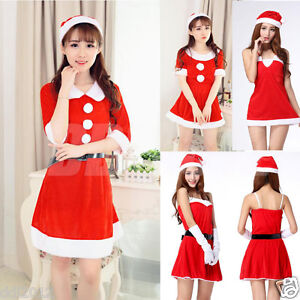 a8c632e90114 Sexy Women Santa Christmas Costume Fancy Dress Xmas Office Cosplay ...