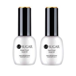 UR-SUGAR-2-Bottles-15ml-Nagel-Top-Coat-Base-Coat-Gellack-Nail-Art-Gel-UV-Kit