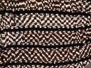 Vintage-Granny-Afghan-Crochet-Brown-White-Handmade-Blanket-54-034-x85-034-Throw