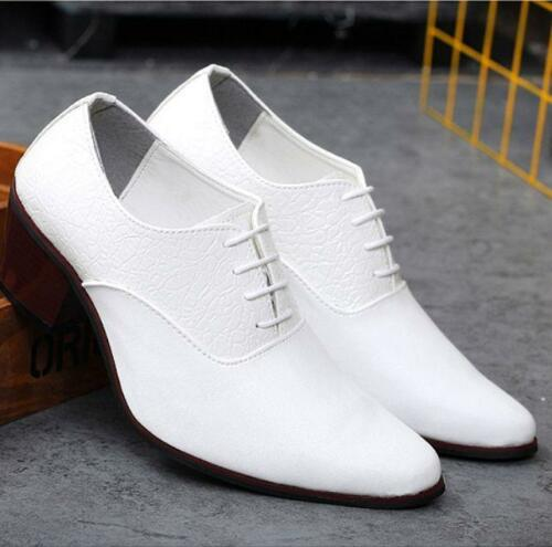 Mens Block cuban Heels Formal Shoes Business Lace Up Pointed Toe hairdresser