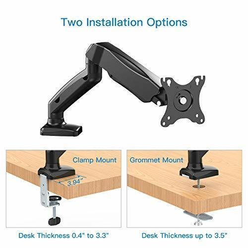 Full Motion Rotating Adjustable Arm Single Monitor Stand w// Clamp /& Grommet Base