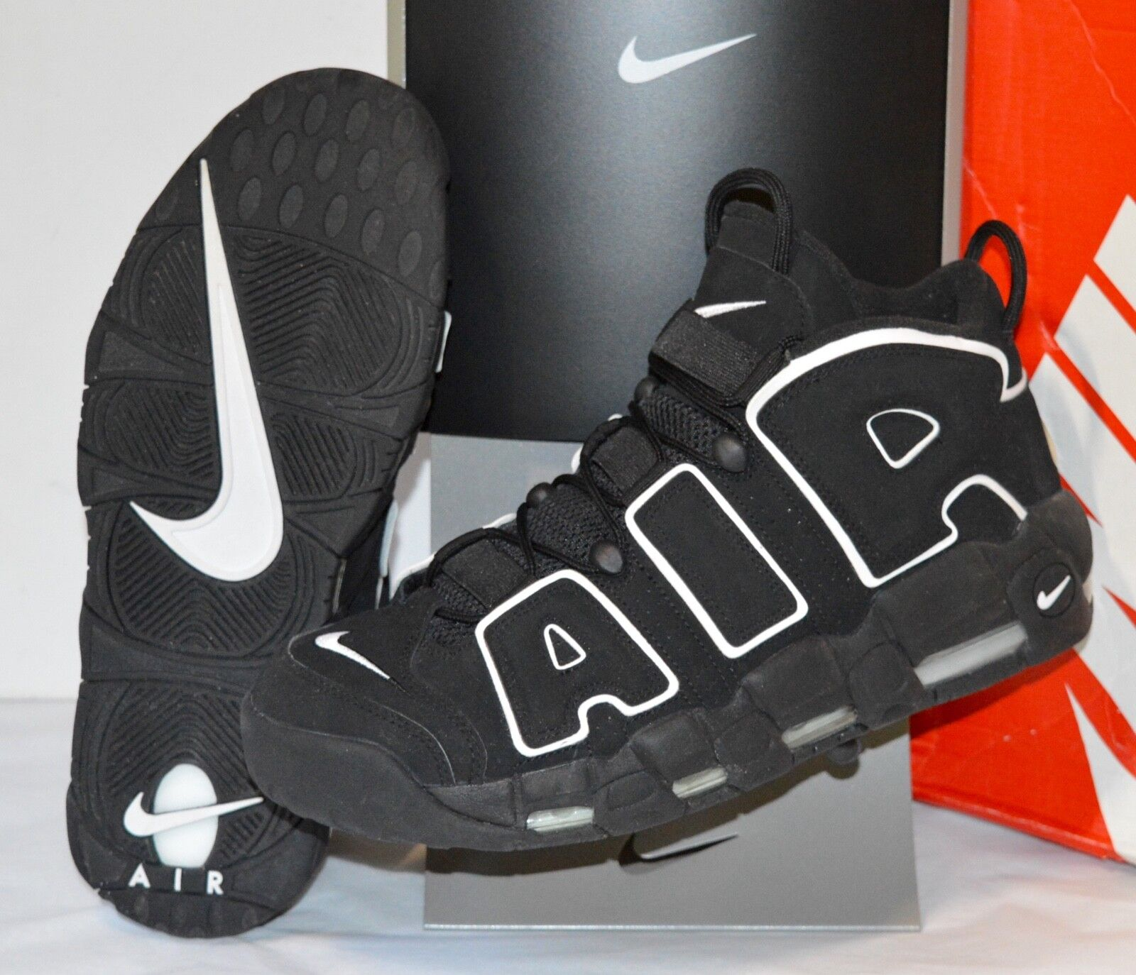 Worn Worn Worn Once Nike Air More Uptempo 2016 Retro Black White sz 12 Scottie Pippen Max 3fd5b9