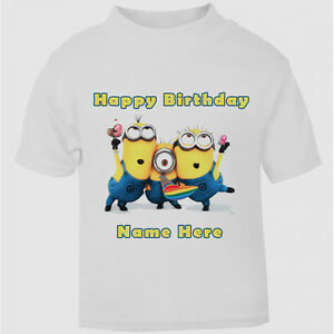 Image Is Loading New Personalised Happy Birthday Minion T Shirt Boys