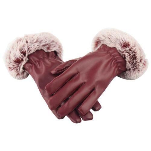 Dame Weiches Leder Handgelenk Lange Handschuhe Mit Cosy Samtfutter Rot K1F1
